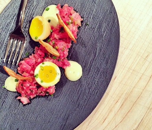 Prime Flank Steak Tartare with Marinated Quail Eggs, Yuzu Kosho, and Fingerling Potato Chips at the James Beard House