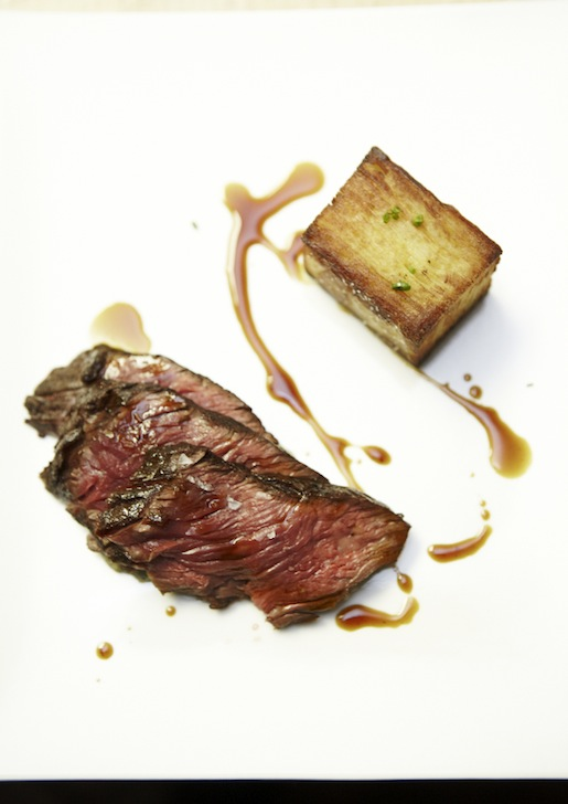 Painted Hills Natural Beef Hanger Steak with Torpedo Onions, Potato Mille-Feuille, and Bordelaise