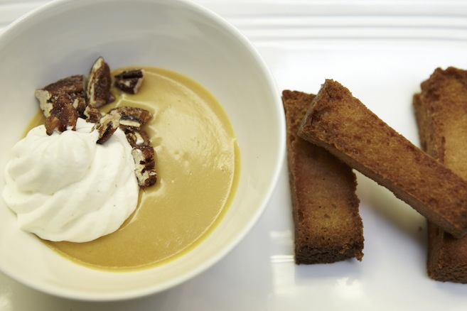 Butterscotch–Passion Fruit Pudding with Warm Pound Cake Croutons and Pecans