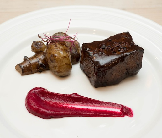 Mocha-Braised Double R Ranch Short Ribs with Sunchokes, Young Crimson Beets, and Theo's Cocoa Nibs