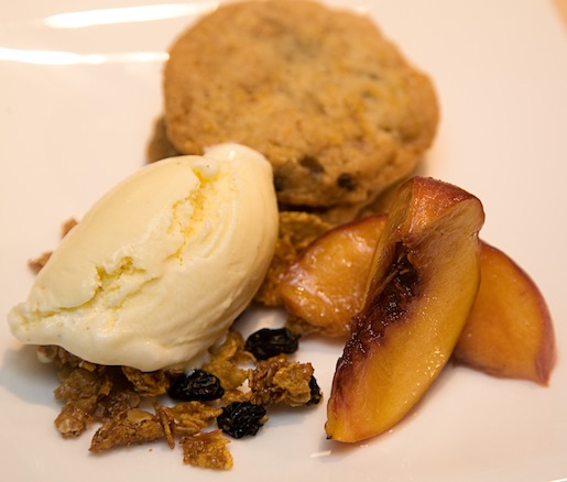 Chocolate–Marshmallow Cookie with Marshmallow Gelato, Honey–Cornflake Granola, and White Balsamic Peaches
