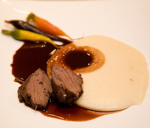 Venison Medallion with Juniper–Game Glace, Chestnut Flan, and Cherry Grove Farm Tricolored Carrots