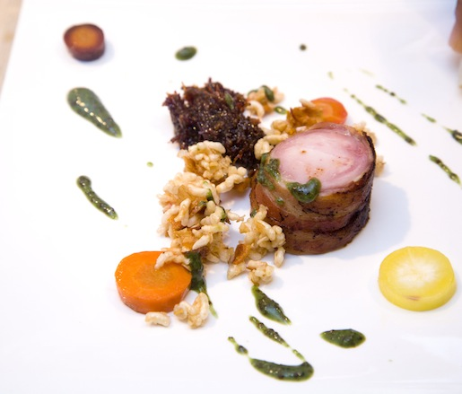 Sous Vide Painted Meadows Farms Rabbit Saddle with Kaleidoscope Carrots, Cranberry Granola, Bacon Jam, and Green Mustard Vinaigrette