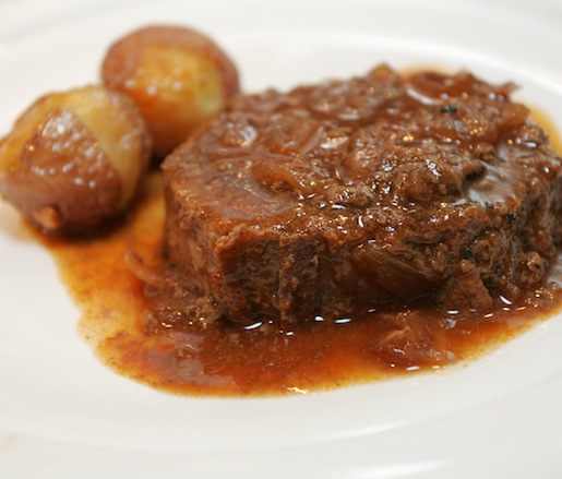 Braised Josef Meiller Farm Brisket with Red Wine Sauce, Silamar Farm Potatoes, and Ronnybrook Farm Dairy Butter