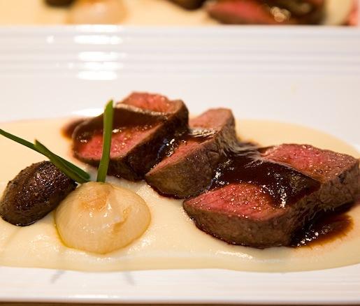 Roasted Prime Sirloin Cap Steak with Russet Potato Purée, Veal Demi-Glace, Cremini Mushrooms, and Cipolline