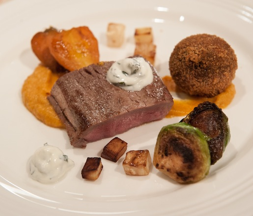 Lamb Loin and Goat Croquette Duo with Smoked Butternut Squash Purée, Roasted Autumn Vegetables, and Mint Yogurt