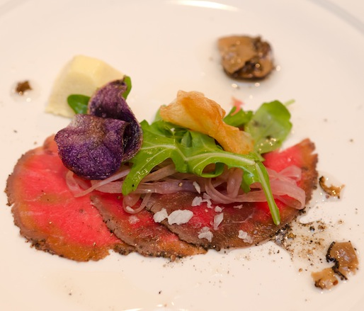 Walla Walla Roastery Espresso–Crusted Buffalo Carpaccio with Monteillet Causse Noir Cheese, Walla Walla Sweet Onions, Fingerling Potatoes, and Oregon Summer Black Truffles