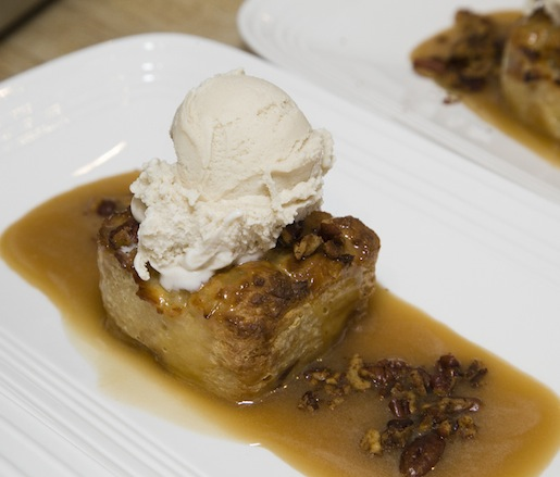 White Chocolate–Coconut Bread Pudding with Warm Praline Sauce and Buttermilk–Brown Sugar Ice Cream