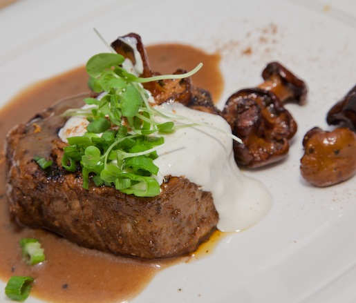 Wood-Roasted Harris Ranch Angus Filet Mignon with Oak-Smoked Brown Butter Mushrooms, Smoky Barbecue Aïoli, and Rosemary Steak Butterau Jus