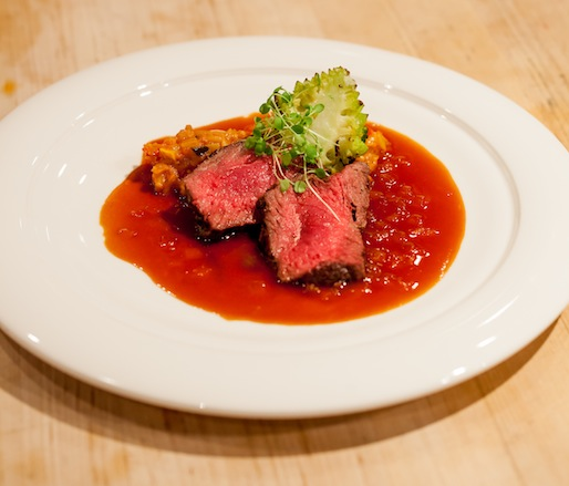 Emma Farms Wagyu New York Strip with Colorado Ratatouille, San Luis Valley Romanesco Cauliflower, and Onion Jus
