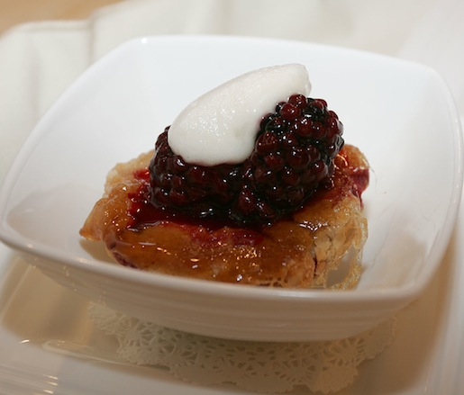 Little Rhody Peach Tarte Tatin with Whipped Honey, Whipped Cream, and Berries