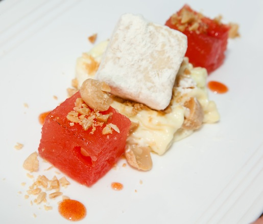 Ohio Heirloom Watermelon with Toasted Almond Cake, Almond Cream, and Pedro Ximénez Reduction