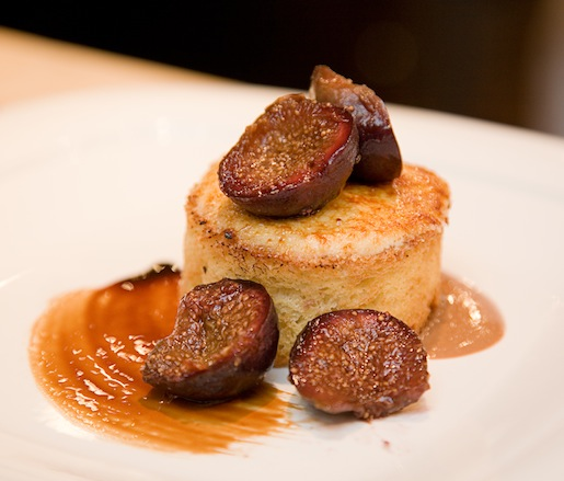 Brûléed Goat Cheese with Toasted Brioche, Saba-Poached Figs, and Gianduja
