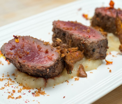 Horseradish-Crusted New Zealand Lamb Loin with Parsnip Duo and Chanterelle Mushrooms