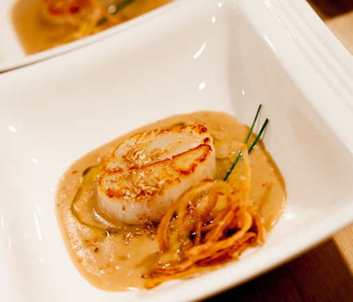 Pan-Roasted Sea Scallops with Cocoa Bean–White Truffle Purée