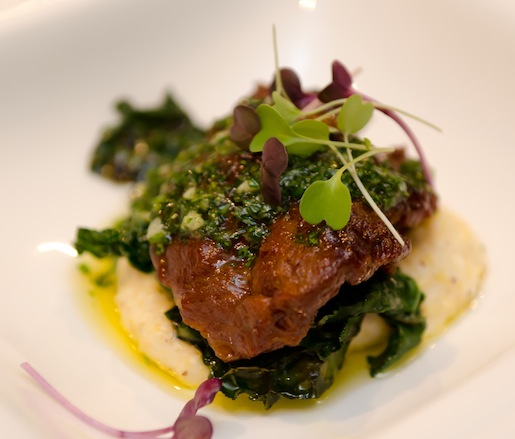 Slow-Cooked Pork Cheeks with Anson Mills Polenta, Roasted Mushrooms, Kale, and Gremolata