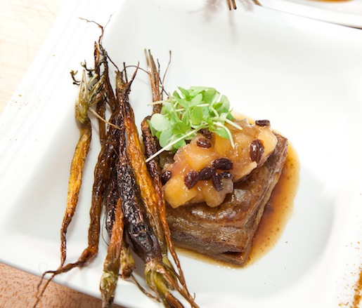 Chermoula-Spiced Braised Lamb Belly with Charred Baby Carrots and Apple Chutney
