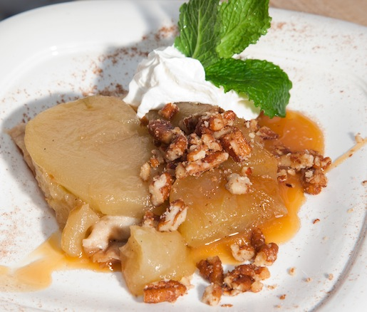 McIntosh Apple Tart with Warm Salted Caramel and Candied Pecans