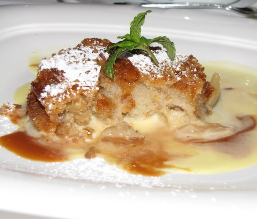 Roasted Banana–Almond Bread Pudding with Goat's Milk Caramel and Vanilla Crème Anglaise