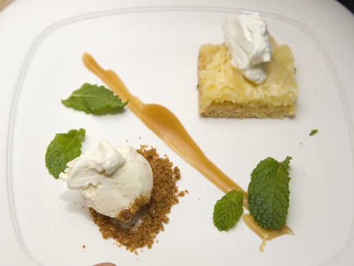 Kenny's Butter Cake with Whipped Cream and Mint