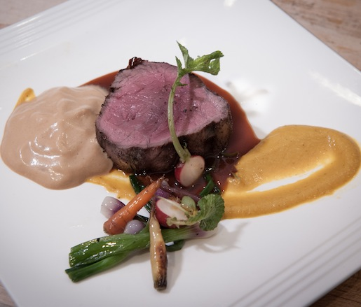 Choiseul Charcoal–Grilled Certified Angus Beef® Filet Mignon with Truffles, West Indian Pumpkin, and Espresso Foam