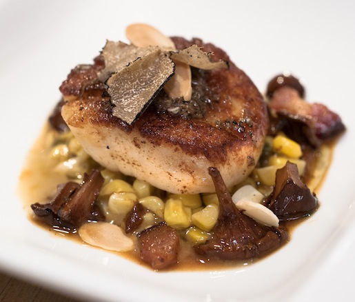 Seared Scallops with Sautéed Corn, Italian Summer Truffles, Truffled Olive Oil Purée, Garlic, and White Anchovies