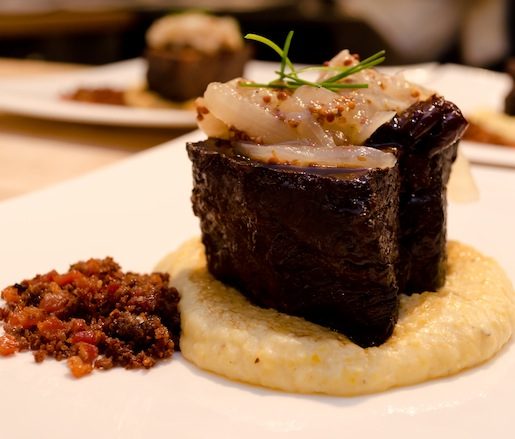 Four Story Hill Farm Beef Short Ribs with Anson Mills Grits, Dried Cherries, and Candied Bacon