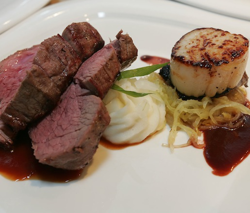 Surf and Turf Tournedos > Beef Tenderloin, Maine Diver Scallop, and Hudson Valley Foie Gras with Concord Grape Demi-Glace