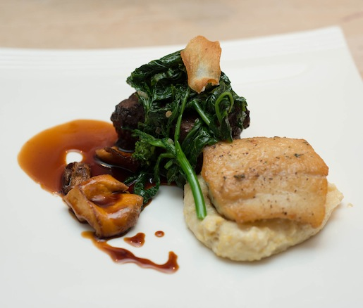 Braised Hereford Beef Short Rib and Virginia Coastal Rockfish with Anson Mills Polenta, Broccoli Rabe, and Chanterelles