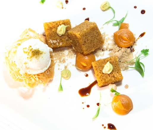Pumpkin with Yogurt Sorbet, Curried White Chocolate, and Chicory
