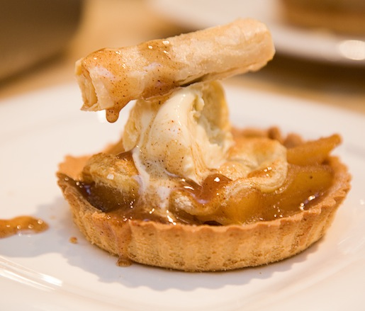 Individual Apple–Pecan Pies with Buttermilk–Vanilla Bean Ice Cream, Calvados Caramel, and Dehydrated Apple Baklava Sticks