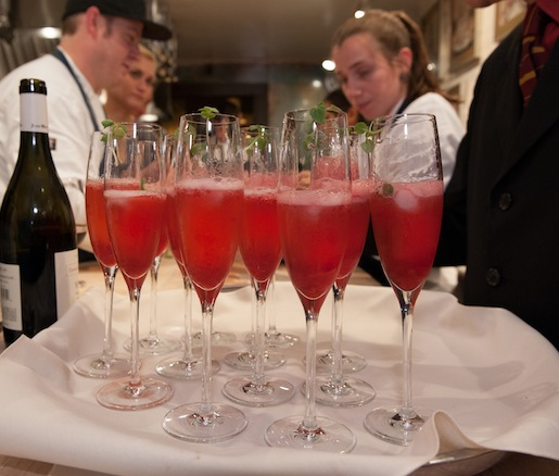Fizzy Pomegranate Shooters with Caviar and Champagne