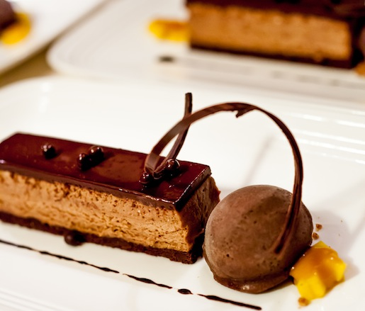 Valrhona Chocolate Cake with Espresso Sherbet and Grilled Mango