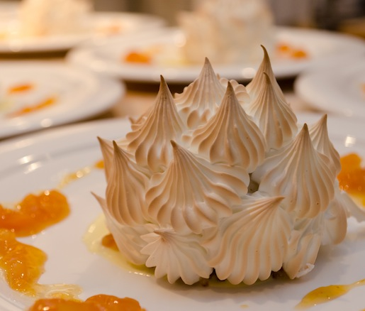 Classic Baked Alaska > Walnut Cake with Apricot Jam, Banana Gelato, and Meringue