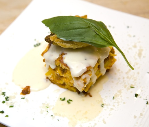 Duck Egg Lasagna with Lamb Ragù, Buffalo Mozzarella, and Parmigiano-Reggiano