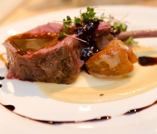 Upper Dry Creek Ranch Lamb with Sweet Potato Gnocchi, White Chocolate, Huckleberry Jam, 25-Year-Old Balsamic, and Mint