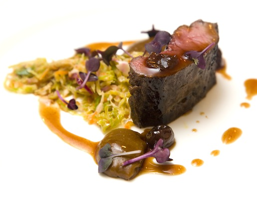 Andriaccio Farm Venison Loin with Gingerbread Purée, Brussels Sprout Slaw, and Preserved Cherries