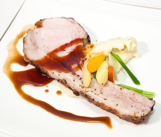 Roasted Jones Heritage Farms Berkshire Hog Chop with Missouri Blackberry–Soy Caramel and Champ