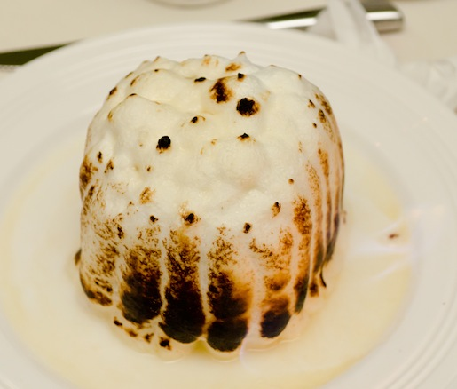 Baked Alaska > Chocolate, Orange, and Hazelnut Cake with Lavender Ice Cream and Meringue; served with Malted Pot-de-Crème, Sea Salt–Crusted Truffle, and Salmonberry Coulis