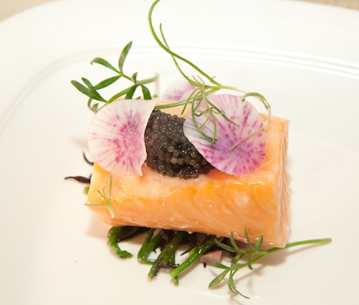 Butter-Poached Skuna Bay Handcrafted Salmon with American Caviar and Sea Beans