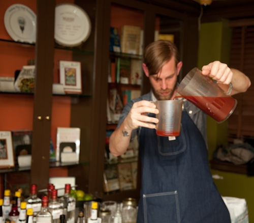 Mixing cocktails at the Beard House