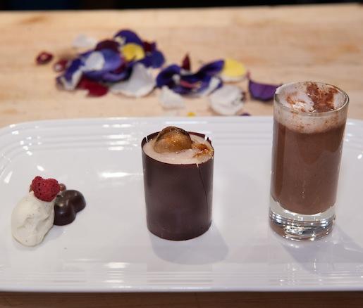 Nick Troubetzkoy's Emerald Estate Cacao Plantation Handmade Organic Chocolate Trio > Bittersweet Chocolate Fondant; St. Lucian Chocolate and Vanilla Tea; and Frozen Chocolate Bananas Foster