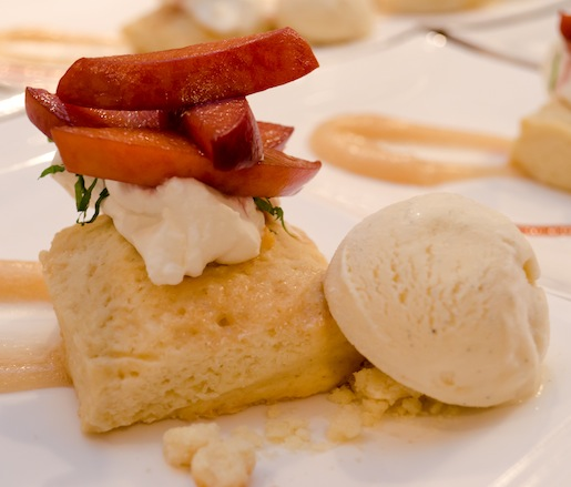 Drunken Peach Shortbread with Pinot-Poached Peaches, Wheat Beer, and Vanilla Ice Cream