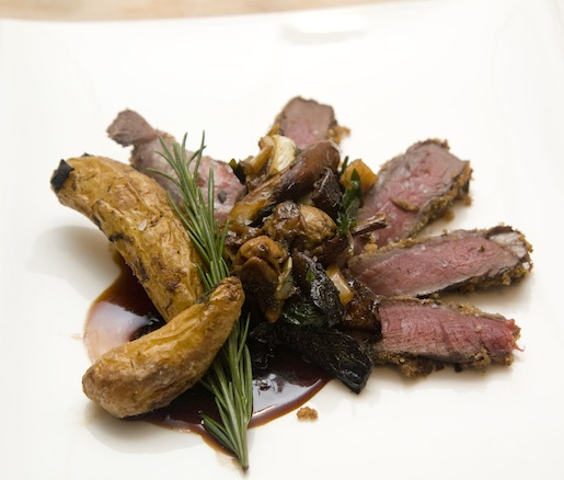 Panko and Tuscan Herb–Crusted Elk Chop with Roasted Porcini–Fingerling Potato Medley