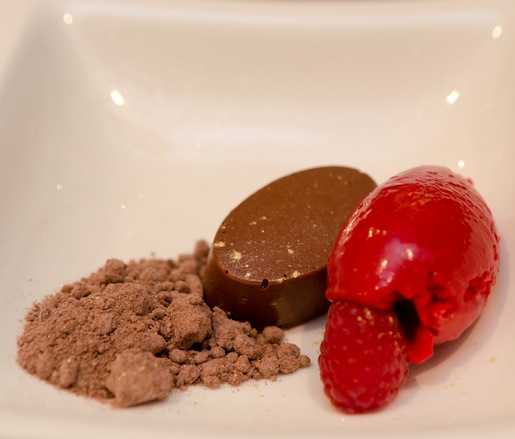 Spiced Chocolate Truffle Tartlet with Raspberry Sorbet, Sea Salt Caramel, and Exploding Cocoa