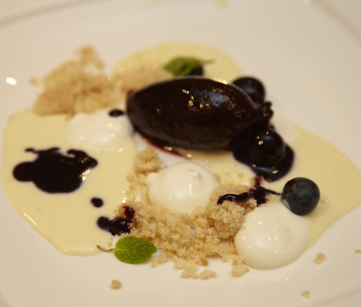 Thyme–Chamomile Custard with Blueberry Sorbet, Sablé Crumble, and Honeyed Yogurt