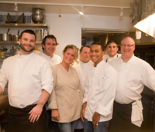 Chefs Ryan and Kelleanne Jones and their team in the Beard House kitchen