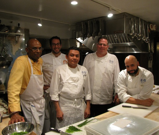 Chef John Mooney and his team in the Beard House kitchen