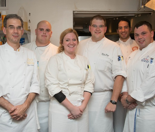 Chef Travis Brust and his team in the Beard House kitchen