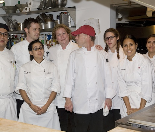 Chef Joanne Bondy and her crew in the Beard House kitchen